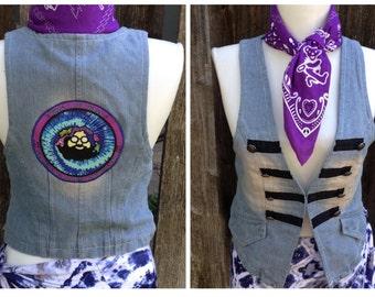 Grateful Dead Vest, Grateful Dead Ripple Jerry Garcia Vest, Ready to ship, hippie vest,women's Vest, Denim vest, Small Grateful Deaf
