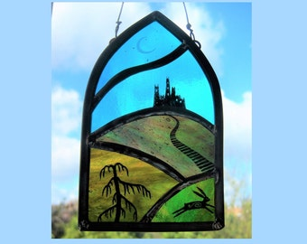 Gothic Castle Stained Glass Panel