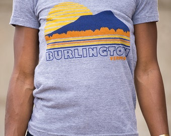 Womens tshirt Burlington Vermont vintage inspired sunset tee