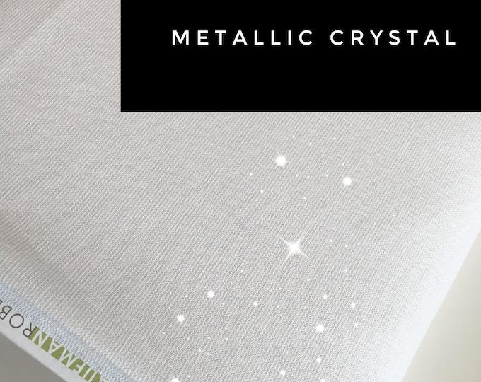 Rustic Wedding Decor, Linen Tablecloth or Linen Napkins fabric, Cotton Linen Sparkle Blend, Metallic fabric, Metallic Essex in Crystal White