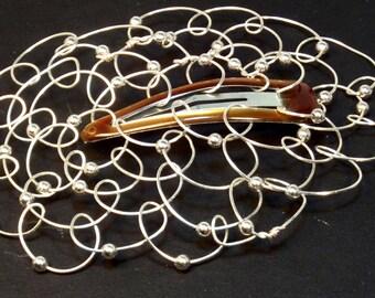 Bat Mitzvah Kippah Womans Kippot Yarmulke - Barrette- Silver Wire Silver Round Beads