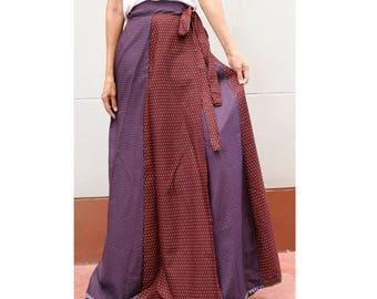 Handmade 8 Pieces Purple Brown  Thai batik Sarong patchwork long comfortable  wear wrap skirt fit all size (BT 15)
