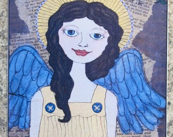 Faithful Angel - ACEO Print Of OOAK Original Painting - Angels - ATC - Artist Trading Card