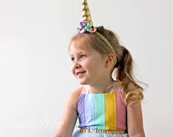 Rainbow Birthday Dress, Girls Rainbow Dress, Toddler Rainbow Birthday, Rainbow Unicorn Dress, Pastel Rainbow Dress, Aqua Gold Tulle Dress
