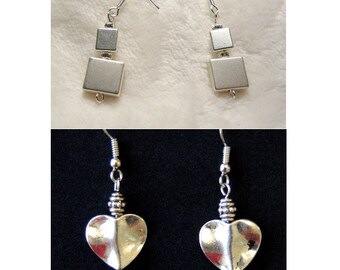 Style Choice - Silver Square or Heart Pendant Pierced Dangle Earrings