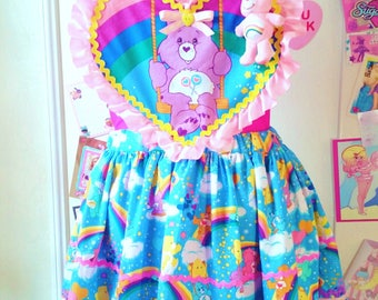 Care Bears pinafore dress, fairy kei decora sweet lolita apron 80s rainbow romper salopette pompom size L