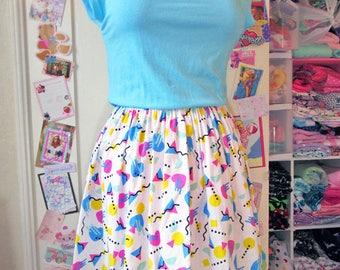 80's dress, geometric Saved by the Bell fairy kei clothing 90s kid vaporwave aesthetic retro fashion size M medium