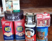 Vintage Tins -- Hershey, Log Cabin Syrup, Planters Nuts, Ritz Crackers, Quaker Oats, Curad Bandages -- Destash Advertising Tins