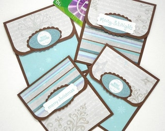 Holiday Gift Card Holder Set, Christmas Money Card Pack , Blue Snowflake Cards, Christmas Gift Card Envelopes