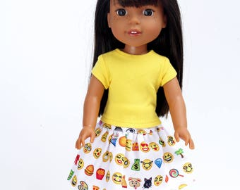 Fits like Wellie Wishers Doll Clothes - Yellow Trendy Tee and Emoji / Emoticon Skirt