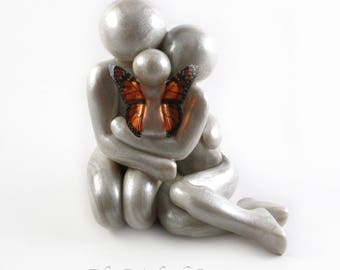 Baby Loss Memorial Statue - Mother Father and Angel Baby clay sculpture - add up to five siblings - child loss keepsake - made to order