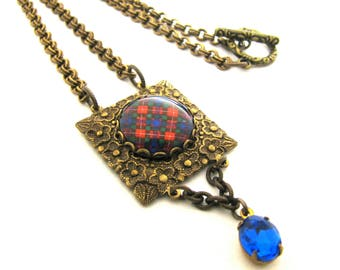 Scottish Tartan Jewelry - Ancient Romance Series - Fraser Clan Tartan Square Repousse Embossed Frame Necklace w/Sapphire Czech Glass Gem
