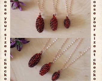 Copper Pinecone Necklace, Small Pinecones, Copper, Real PineCones, Tiny PInecones, Copper Pine Cones, Long Layered Rose Gold Necklace, PC75