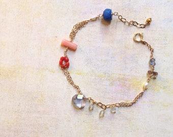 Blue Quartz Bracelet - Dainty Gold Bracelet - Mixed Stone Bracelet - Colorful Gemstone Bracelet - Coral Bracelet - Aquamarine Bracelet