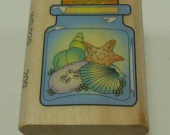 Seashells, Starfish, And Sand Dollar In a Jar Wood Mounted Rubber Stamp From Combined Resources International Sea Life, Ocean, Sea, Beach