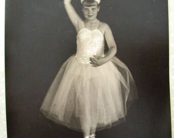 Vintage 8 x 10 Original Photograph of Young Ballerina En Pointe in Sparkling Tutu Black and White