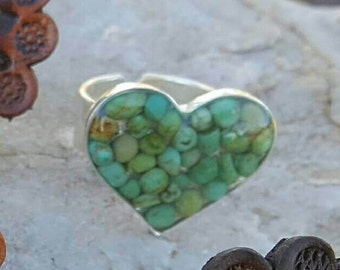 Green Turquoise HEART Ring - Silver Ring - Adjustable RING - Southwestern - Sleeping Beauty Turquoise - Cowgirl Ring by Heart of a Cowgirl