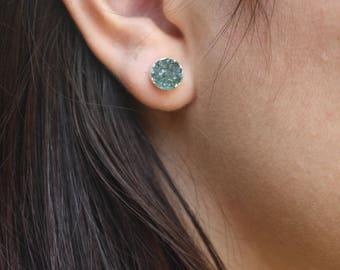 Druzy Stud Earrings,Green Stud Earrings,Green Druzy Earrings,Silver druzy earrings,gift under 50,gift for her,boho style,mineral earrings