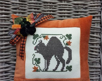 Black Cat Pillow Vintage Style Handmade Orange Velvet Ticking Cross Stitch Primitive Rustic Folk Art Harvest Autumn Halloween Decoration