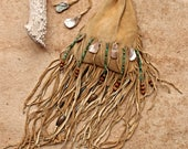 Hand Stitched Deer Hide Sage Filled Pouch + Sacred Herb Pouch + Smudging Ceremony + Medicine Bag + Distressed Leather + Turquoise Beads