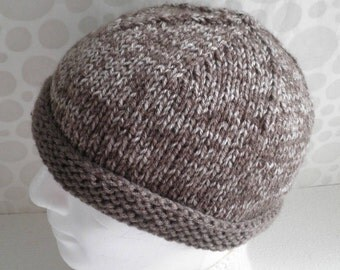 KNITTING PATTERN/TED Mans Hat in Solid and Speckled yarn/Easy/KnitStraight/Modern Simple Mans Beanie Hat Pattern/Mens Knitting/Easy Mans Hat
