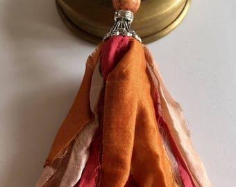 Sari Silk Tassel Necklace-Salmon, Blush, Watermelon Boho Tassel