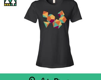 Colorful Dungeons and Dragons Ladies Shirt, Geeky Shirt, DnD Shirt, d20 Shirt, Dungeon Master Gift, D&D Dice Shirt, RPG Gaming Shirt