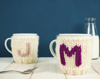 Mug and Knitted Cosy, Personalised Mug, Mug Cozy, Tea Cup Cosy, Coffee Cosy, Gift for Her, Initial Mug for Her, Wedding Present, Best Friend