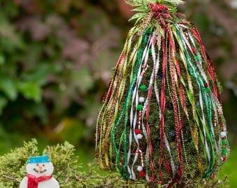 Christmas Tree Dress Kit for Miniature Holiday Garden Decorationing DIY, Handmade Craft Kit Made in US, Gardening in Miniature Prop Shop Kit