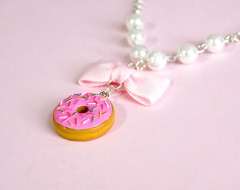 Pink Donut and Pearls Necklace, Food Necklace, Pinup Jewelry, Chocolate Doughnut Pendant, Kawaii Necklace, Polymer Clay Food, Kitsch