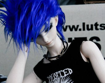 Akasarushi Electric Blue Color Fur Wig Made for abjd doll size SD MSD tiny yosd and puki
