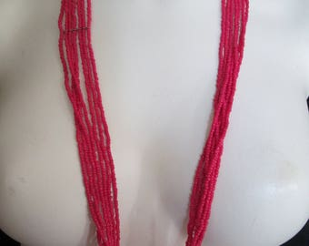 Seven strand hot pink glass seed beaded southwestern necklace with metal spacers