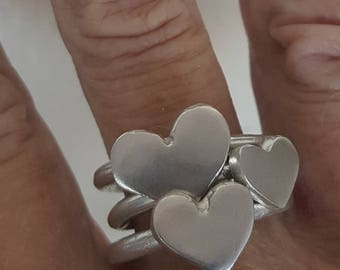 Silver Heart Rings Stackable Sterling Bands
