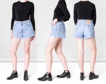 DENIM SHORTS mom jeans HIGH waist vintage 550 cut offs distressed Frayed summer women / Size 11 / 33 34 Waist