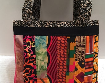 African Patchwork, Tote Bag, Gift Wrap, Reusable, Wrapping Paper Alternative, Quilted Gift Bag, Kwanzaa Gift Wrap, Birthday, OOAK