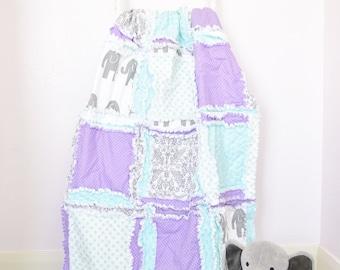 Elephant Quilt- Mint/ Gray/ Purple Crib Bedding- Safari Nursery- Elephant Baby Quilt Baby Girl Nursery- Jungle Nursery Flannel Baby Blanket