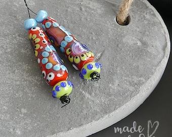 Handmade lampwork beads | earring pair | set  |  IN RED |  free-formed  |  SRA  |  artisan glass |  Silke Buechler