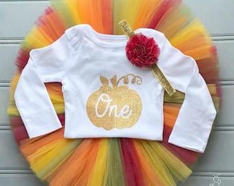 Fall First Birthday Outfit Girl, Gold Pumpkin Cake Smash Outfit Girl, 1st Birthday Outfit Girl, Birthday Tutu Set, SEWN Tutu Skirt, Tulle