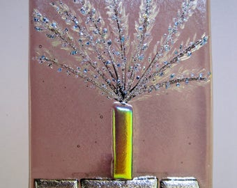 Handmade fused glass night light- Whole Wheat, nite lite, night light, local, maker, lighting, art, hand crafted, gift, san francisco