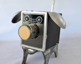 ROSCOE THE DOGBOT, Assemblage Art Recycled Robot Sculpture, Camera Dog