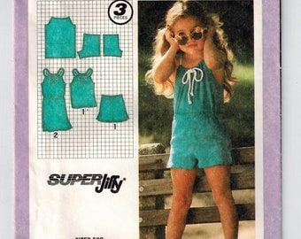 Vintage 80s Child's Pullover Dress or Top and Shorts Super Jiffy Sewing Pattern Size 3 Uncut Pullover Dress Cord Drawstring Summer Play Wear