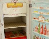 Vintage toy metal refrigerator 1950's