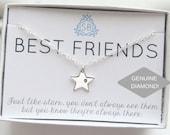 Best Friend Gift • Genuine Diamond & Star Necklace • Genuine Diamond • Star Charm • Lucky Star •  BFF Gift • Best Friends Are Like Stars