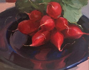 "Art painting still life by Sarah Sedwick ""Red Red Radishes"" 8x8"""