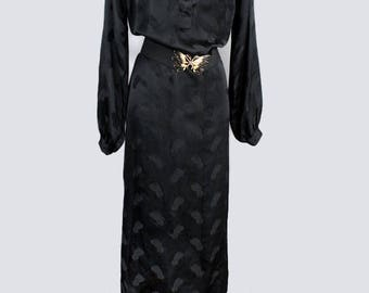 1970's DVF Diane Von Furstenberg Black Long Silk Dress- Designer Dress