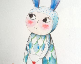 Blue Rabbit, original drawing