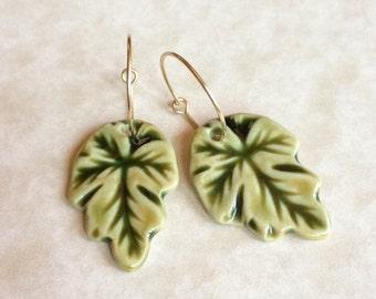 Green Leaf Porcelain Earrings, Green Earrings, Leaf Shaped Porcelain, Handmade Porcelain Jewelry, Leaf Dangle Earrings, Ceramic Leaves