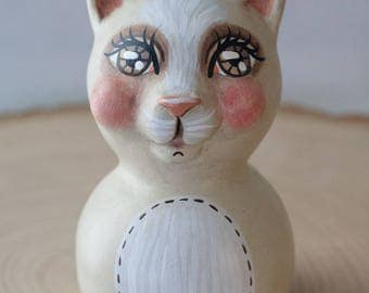 Sweet Hand-Sculpted White Kitty Cat Folk Art Doll - One of a Kind, Charming Whimsical Vintage Style Collectible