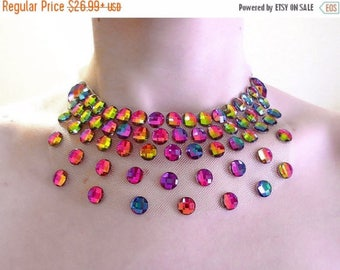 ON SALE Iridescent Rainbow Illusion Necklace, Floating Rhinestone Necklace, Discount Statement Necklace, Sale Price Rhinestone Illusion Neck
