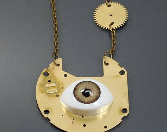 Steampunk Necklace- Creepy Doll Eye Necklace, Upcycled Clock Part Brass Steampunk Jewelry, Industrial Jewelry, Contemporary Jewelry